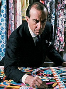 1959, Florence, Italy --- The Florentine fashion designer, Emilio Pucci with examples of his work, Florence, Italy, 1959. --- Image by © David Lees/CORBIS