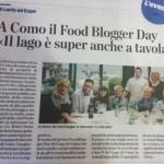 La stampa locale racconta il primo FOOD BLOGGER DAY del Lago di Como