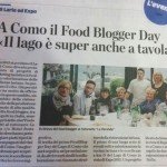 The local press speaks about the first FOOD BLOGGER DAY on Lake Como