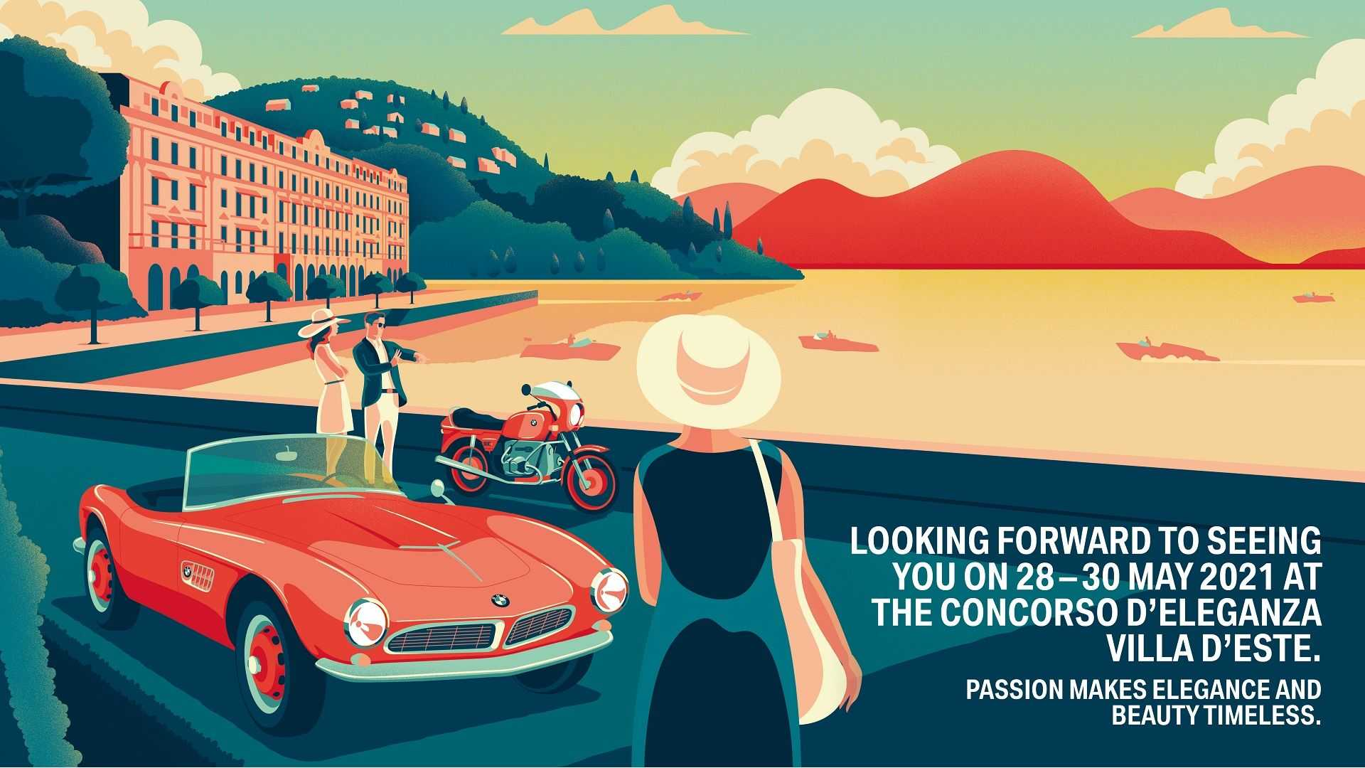 Vintage cars on Lake Como